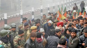 The BJP delegation, with three party MPs and several state leaders on their arrival in Malda district of West Bengal on Monday to visit violence-hit Kailachak police station. (Source: PTI Photo)