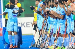 India's goalkeeper PR Sreejesh, left, hugs VR Raghunath. Photographs: Hockey India.