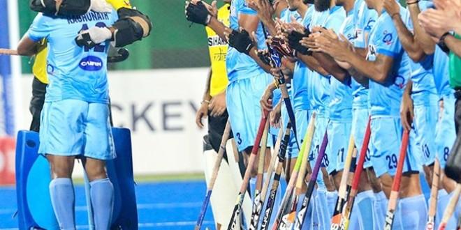 India's goalkeeper PR Sreejesh, left, hugs VR Raghunath. Photographs: Hockey India.