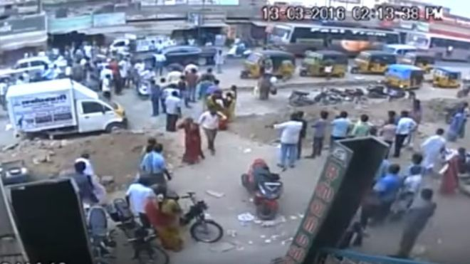 CCTV footage broadcast on Indian television channels showed the couple walking on a busy street when they were attacked