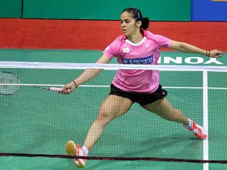 Saina Nehwal in action against Tanvi Lad in Yonex-Sunrise India Open 2016 in New Delhi on Wednesday.